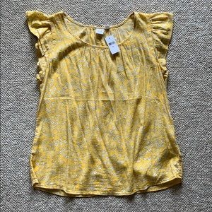Sunny Yellow Floral Blouse- Gap NWT